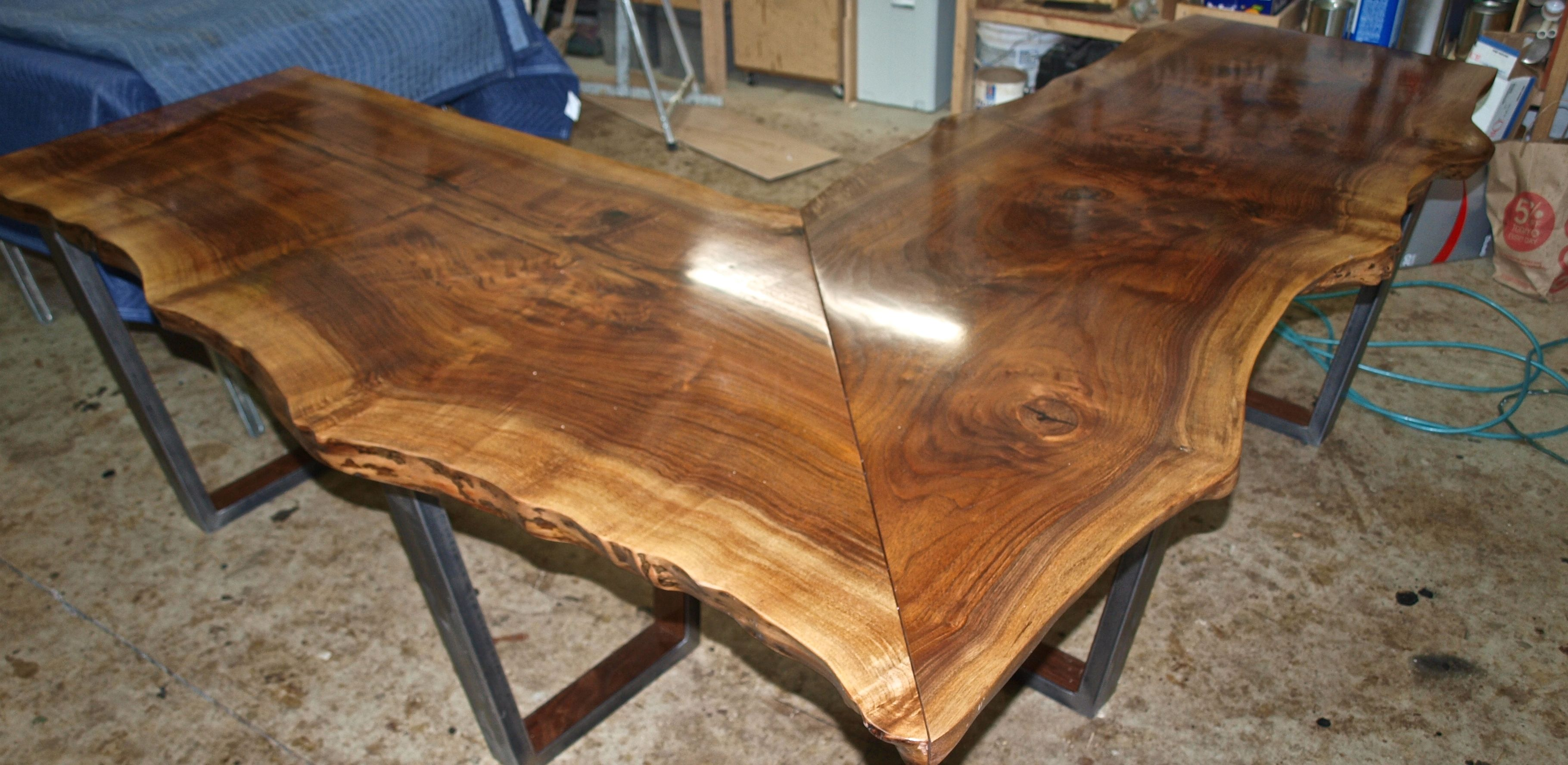Buy A Custom Made Live Edge Walnut L Shaped Desk Made To