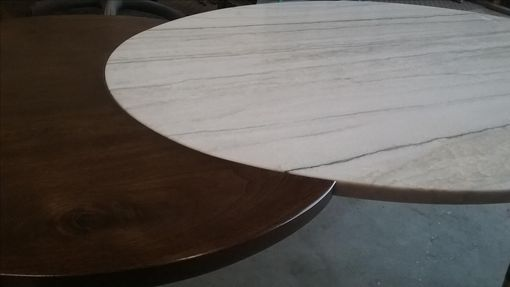 Custom Made Calcutta Marble And Walnut Modern Coffee Table