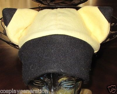 Custom Made Cosplay Pokemon Pikachu Black Tip Ear Yellow/Black Band Fleece Hat In 6 Sizes
