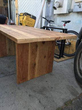 Custom Made Reclaimed Wood Dining Table With Slab Legs