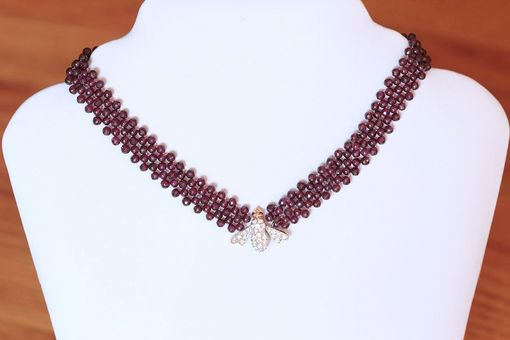 Custom Made Hand Woven Shimmering Bee Diamond And Garnet Necklace