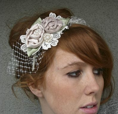 Custom Made Headbands For Weddings, Rolled Rose Headband In Pink And Ivory With Netting