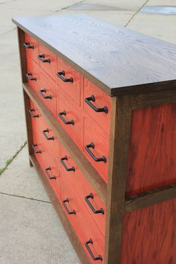 Custom Made Oak 12-Drawer Chest Of Drawers