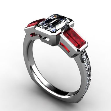 Custom Made Three Stone Emerald Cut Diamond Center And Emerald Cut Rubies/ Sapphires With Diamond Accents