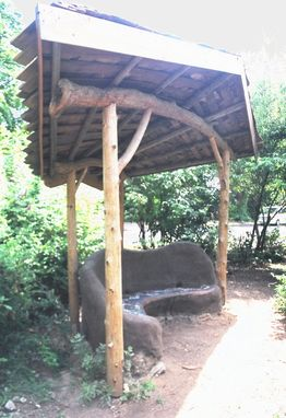 Custom Made Earthen Bench With Roof