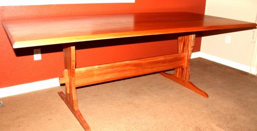 Custom Made African Mahogany Trestle Table