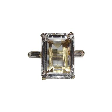 Custom Made Small 18 Kt Gold Vermeil Over Sterling Silver Emerald Cut Rock Crystal Quartz And Cubic Zirconia