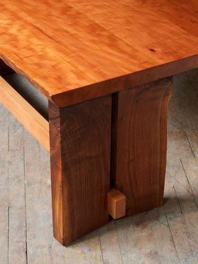 Custom Made Adjustable Height Live Edge Slab Desk
