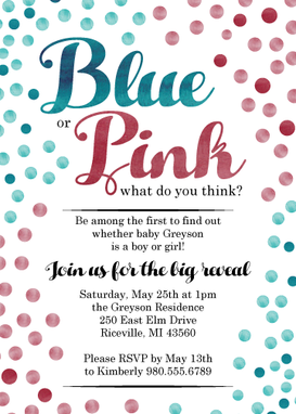 Custom Made Gender Reveal Party Invitation- Blue And Pink Confetti
