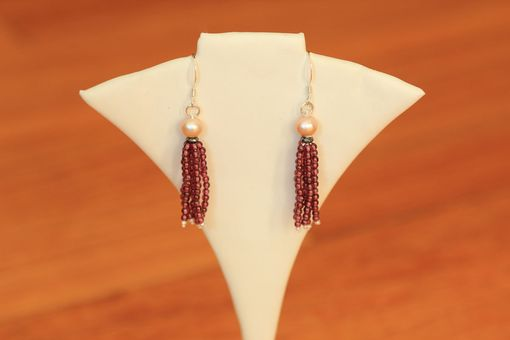 Custom Made Garnet & Pearl Tassel Earrings