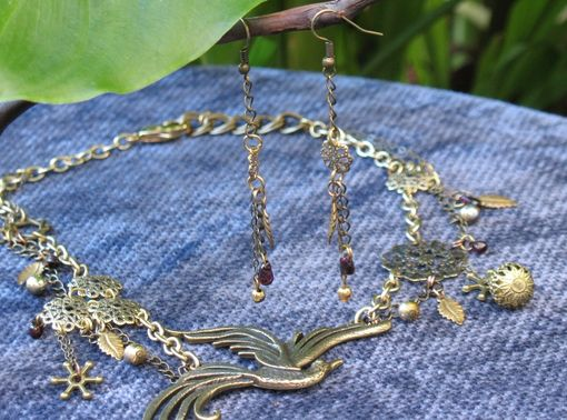 Custom Made Jewelry: Steampunk / Neo-Victorian Necklace: Phoenix With Garnet Drops
