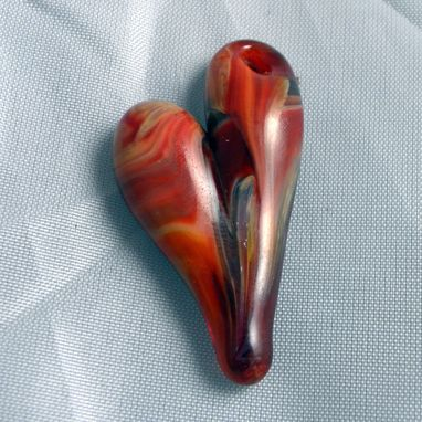 Custom Made Hand-Blown Glass Heart Pendant With Black And Red Swirls