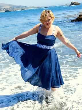 Custom Made Ocean Blue Fitted Sundress With Lace Belt In Linen Custom Made To Fit You