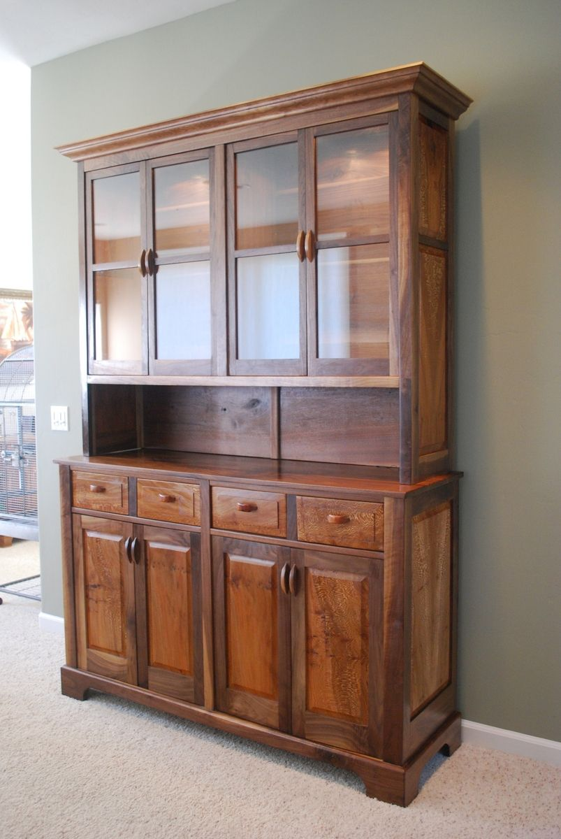 Hand Crafted Walnut And Sycamore China Hutch By Jon S