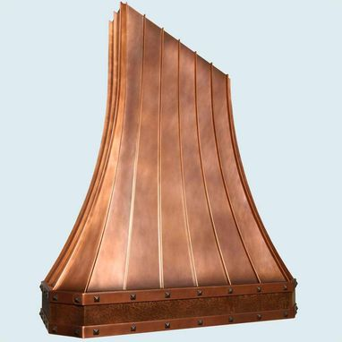 Custom Made Copper Range Hood With Angled Top