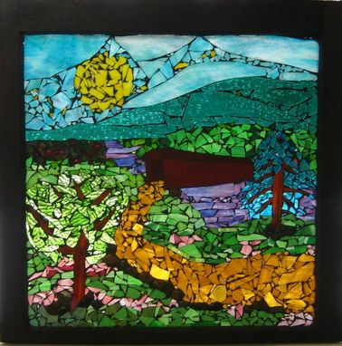 Custom Made We Will Cross That Covered Bridge When We Get There Mosaic Glass Window