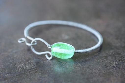 Custom Made Johnsburg: Salvaged Antique Uranium Glass Lampwork Bracelet By The Big Purple Barn
