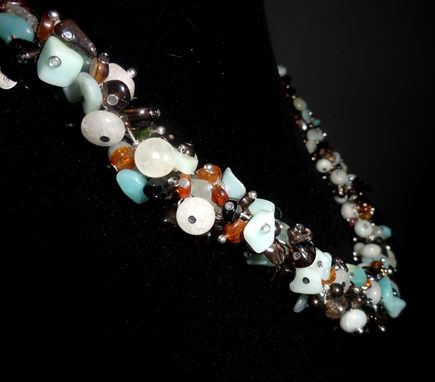 Custom Made Aquamarine, Smoky Quartz & Carnelian Tie Back Necklace
