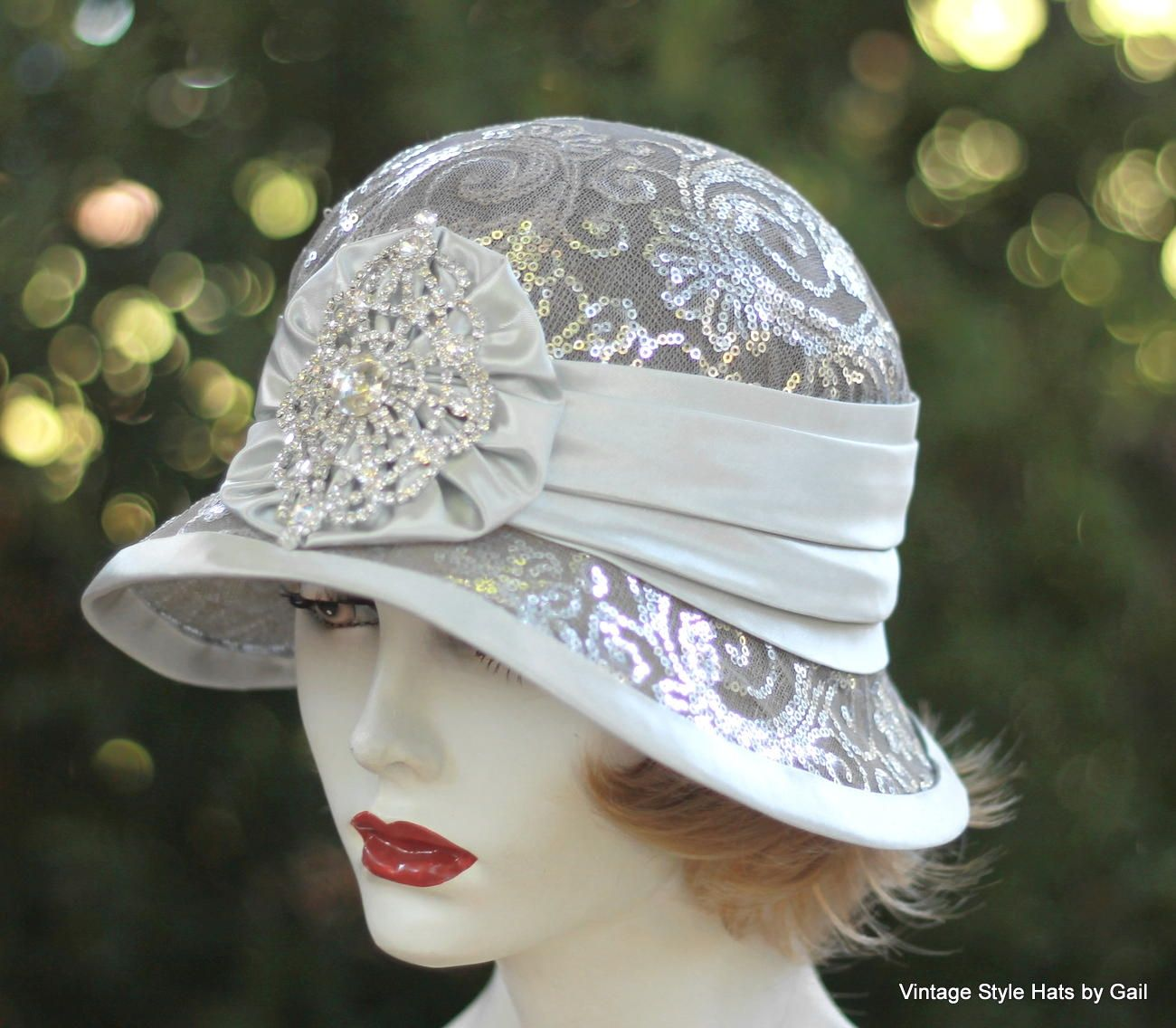 e581eb4ea60 Custom Made 1920 S Vintage Style Cloche Wedding Hat For Mother Of The  Bride