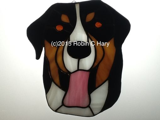 Custom Made Swiss Mountain Dog Stained Glass Sun Catcher