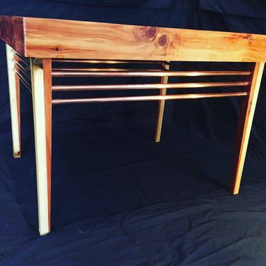 Custom Made Mid-Century Modern Cedar/Poplar/Copper Coffee Table