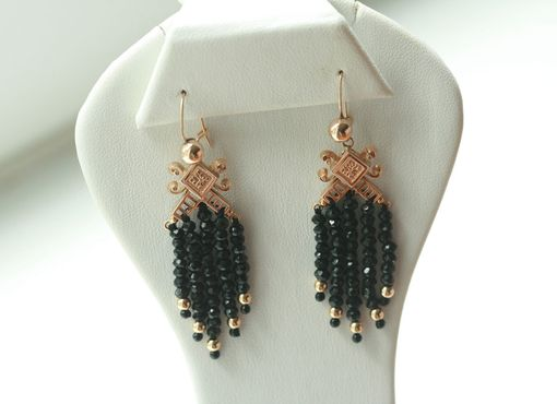 Custom Made Victorian Black Spinel Tassel Earrings