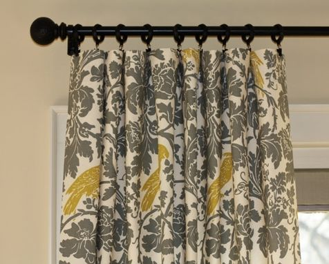Custom Made 63l X 50w Waverly Celestial Sun In Sterling Gray Citrine Medallion Scrolls Curtain Panels