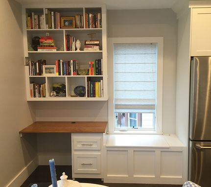 Custom Made Built-In Shelving, Desk, Window Seat