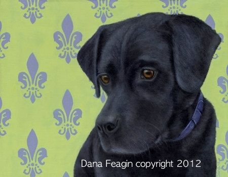 Custom Made Black Lab - Labrador Retriever Fine Art Print - Dog Art 9.5 X 12 Giclee
