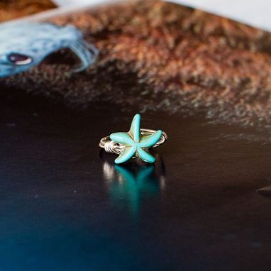 Custom Made Dainty Turquoise Howlite Gemstone Starfish Ring