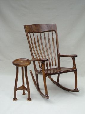 Custom Made Walnut And Maple Rocking Chair