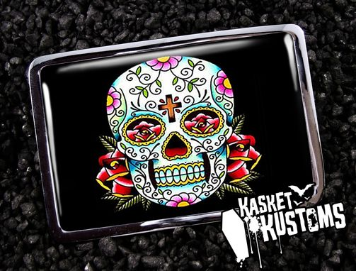 Custom Made Day Of The Dead Skull Halloween Belt Buckle Bb-65-Cr