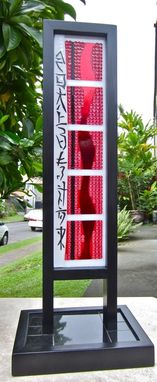 Custom Made Fused Glass Sculpture- Modern Asian Themed In Red, White, Black