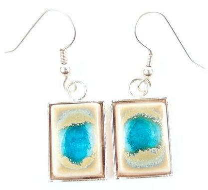 Custom Made Geode Crackle Pendant Earrings