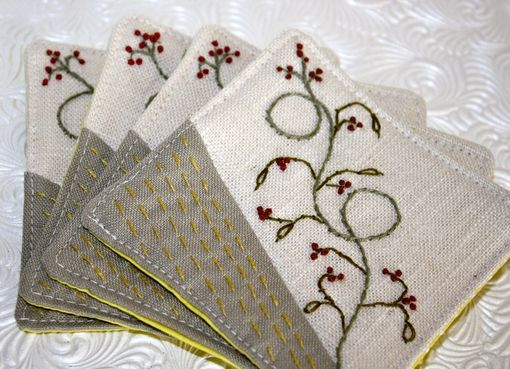 Custom Made Winterberry Hand Embroidered Coasters