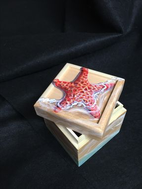 Custom Made Red Sea Star Hand Painted Small Box