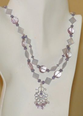 Custom Made Blue Chalcedony Diamond, Tanzanite, And Pink Amethyst Necklace