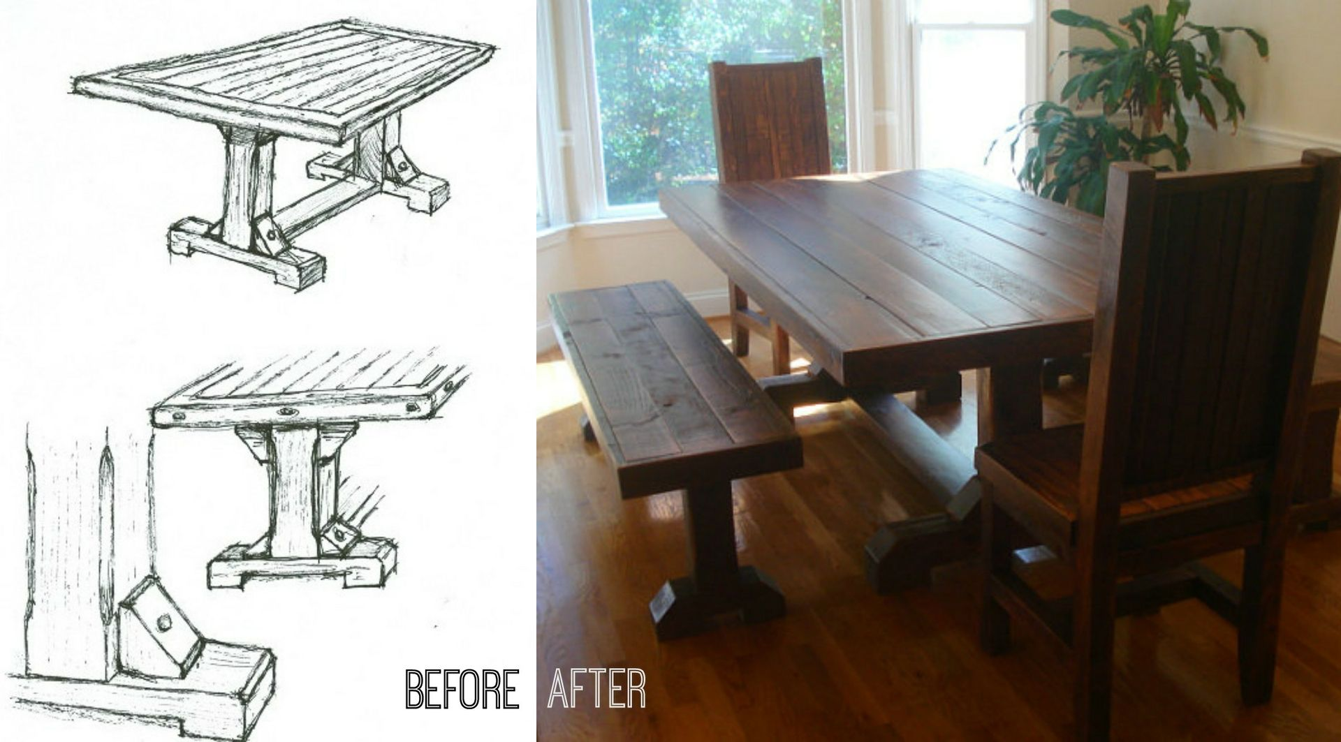 Admirable Custom Made Rustic Trestle Table Set W 2 Benches And 2 Pdpeps Interior Chair Design Pdpepsorg