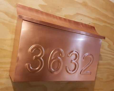 Custom Made Large Copper Mailbox With Embossed House Numbers