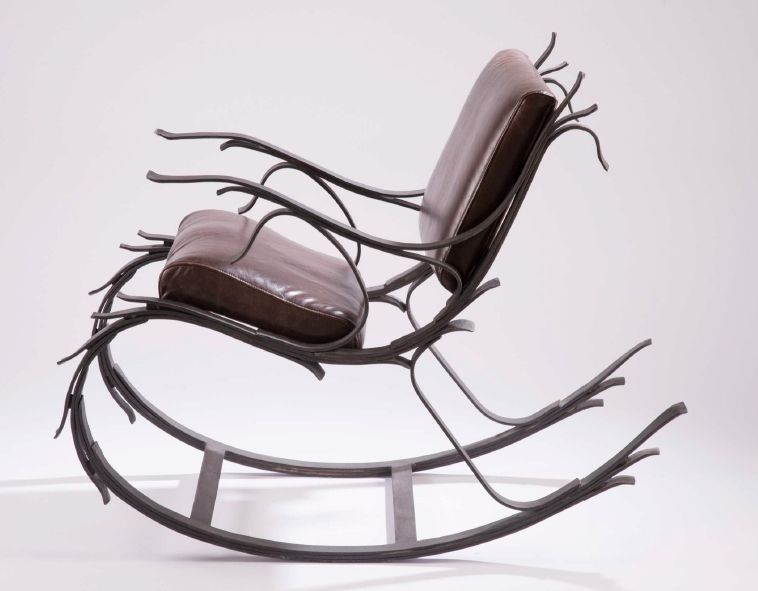 Hand Made Steel And Leather Leaf Spring Rocking Chair By Iron Mountain Forge Furniture Custommade