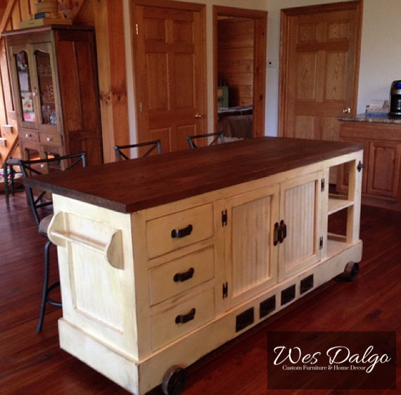 Custom Made Style Distressed Antique White Kitchen Island With Eating Bar