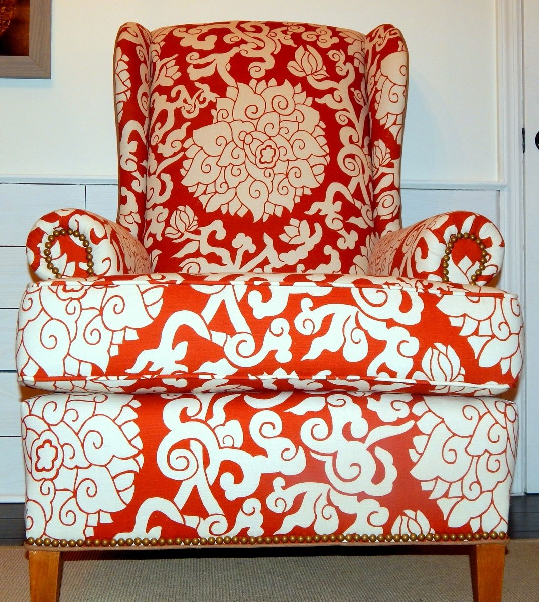 Hand Crafted Orange Blossom Linen Wingback Chair By Samantha Gale Designs Custommade Com