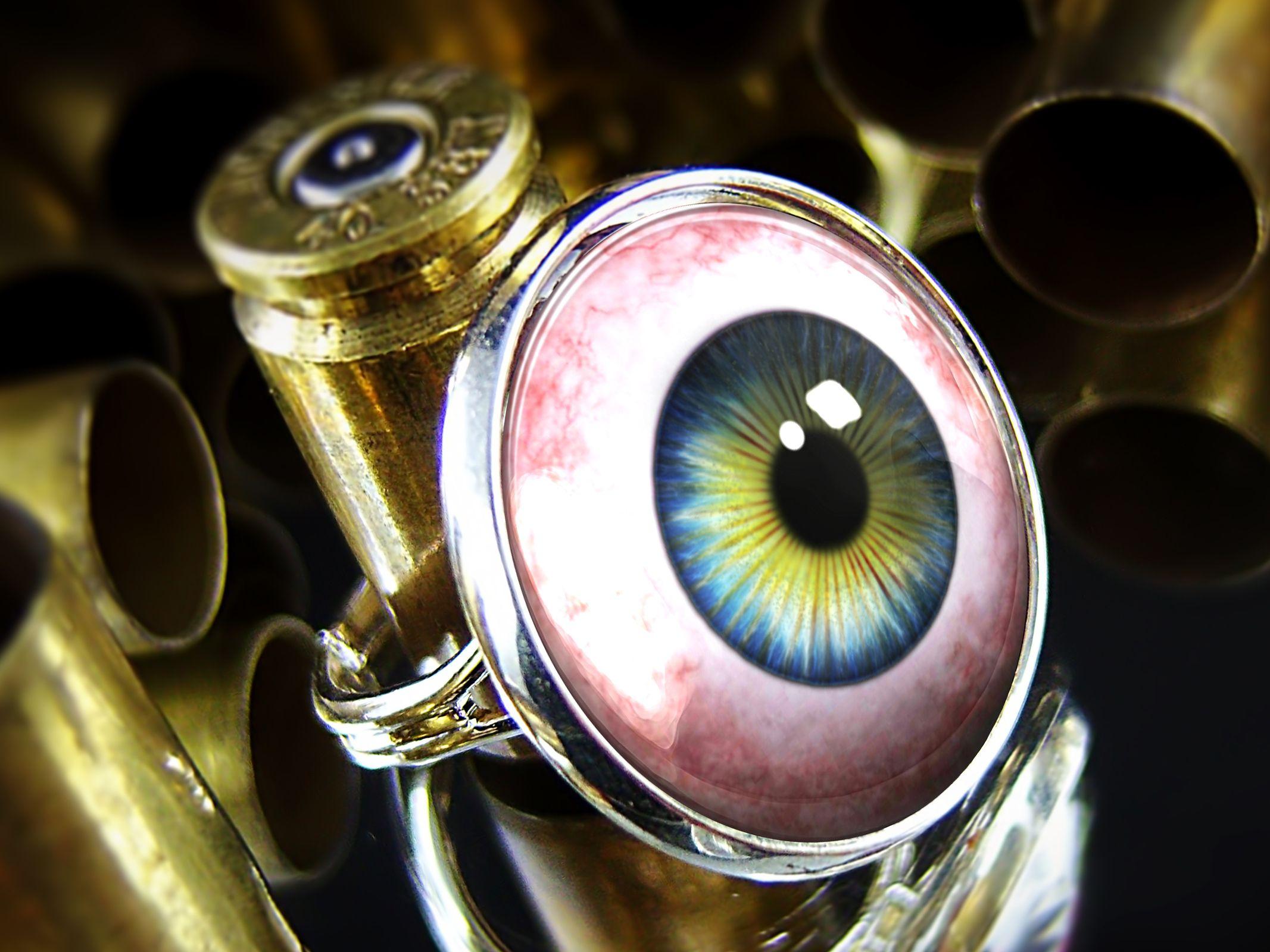 custom made eyeball halloween costume glass sterling silver ring 22 srr