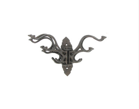 Custom Made Dark Brown Cast Iron Swivel Hooks