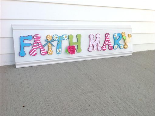 Custom Made Custom Girls Name Sign Bedroom Decor Wall Art White Pink Blue Yellow Flowers Hand Painted