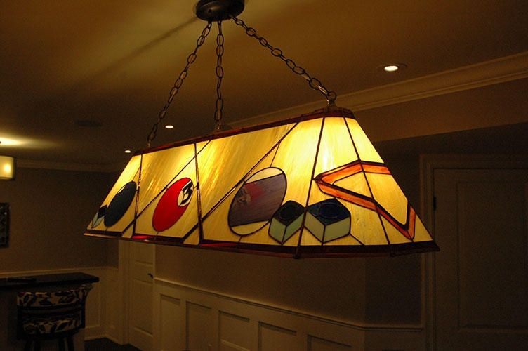 Hand crafted custom stained glass pool table lamp by knapp stained custom made custom stained glass pool table lamp mozeypictures Gallery