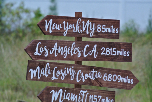 Custom Made Rustic Wood Directional Sign, Mileage Destination Wooden Sign Post