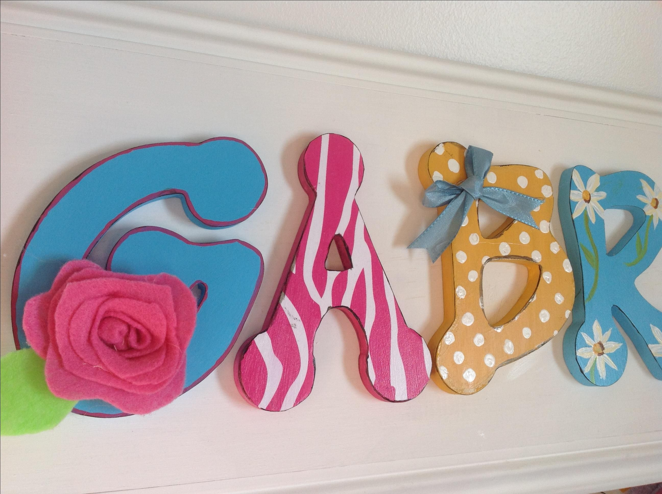 Hand made girls bedroom decor wood letter name sign pink for Baby name decoration ideas
