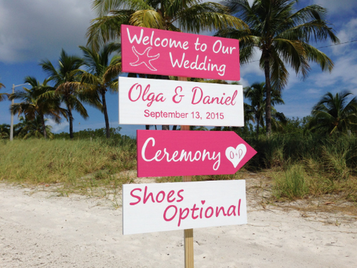 Custom Made Pink White Welcome Wedding Sign, Beach Wedding Decor