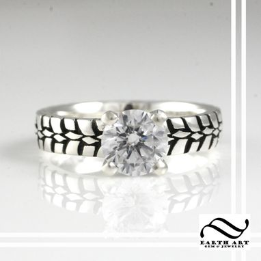 Custom Made Cubic Zirconia Tire Tread Engagement Ring